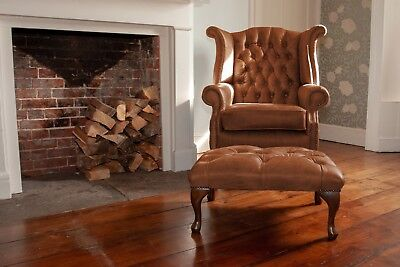 £655 • Buy Chesterfield Queen Anne High Back Wing Chair & Footstool In Vintage Tan Leather