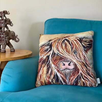 £16.99 • Buy Highland Cow Filled Cushions Wee Coo Heilan  Scottish Highland Cow Country Decor
