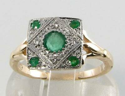 £289 • Buy Class 9ct Gold Colombian Emerald Diamond Art Deco Ins Ring  Free Resize