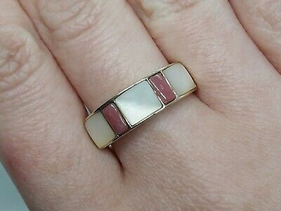 $ CDN71.80 • Buy Solid 9ct Yellow Gold Ring Mother Of Pearl & Rhodochrosite M - 2.7g - Not Scrap