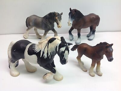 Retired Schleich Clydesdale 4 Horse Lot 00 Bay Shire 02 Filly 03 Tinker 04 Mare • 2.30£