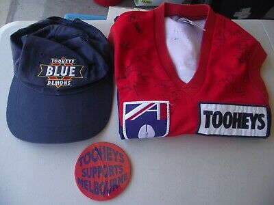 AU750 • Buy Afl Signed 1998 Tooheys Blue Melbourne Demons Jumper=badge =nu Cap=12 Photos