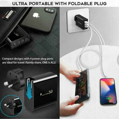 AU18.25 • Buy QC3.0 48W 4 Port PD Fast Charging Charger Multi USB Type C Wall AU Plug Adapter
