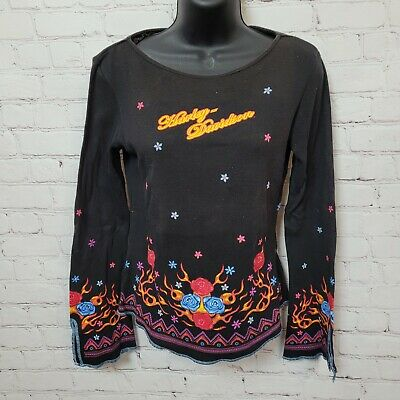 $ CDN30.22 • Buy Harley Davidson Floral Flame Painted Long Sleeve Shirt Black Womens Size L