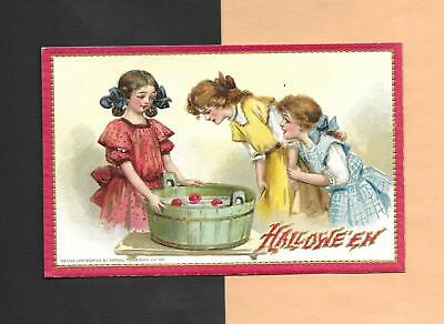 $ CDN24.17 • Buy CHILDREN BOB FOR APPLES On Colorful TUCK Vintage Unused HALLOWEEN Postcard