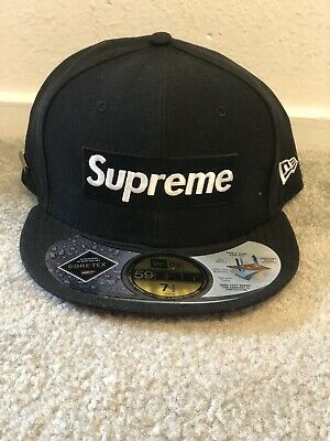 $ CDN424.59 • Buy Supreme Gore-Tex New Era 2013 Box Logo Fitted Hat 7 1/2 Cap Black White Red RARE