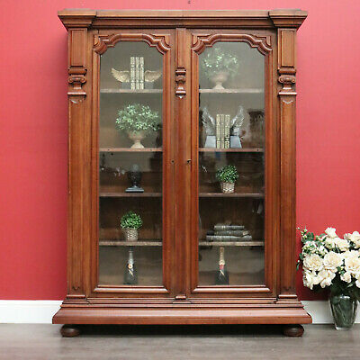 AU2250 • Buy Antique French Walnut 2 Door Bookcase With Glass Doors, China Cabinet Cupboard