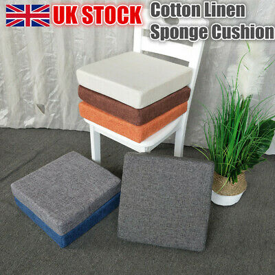 £10.45 • Buy Square Thick Cotton Linen Foam Sponge Cushion Home Office Chair Seat Sofa Pads