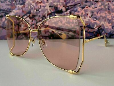 AU12.75 • Buy Gucci GG0252S Gold Frame Pink Lens Women's Oversize Sunglasses Butterfly