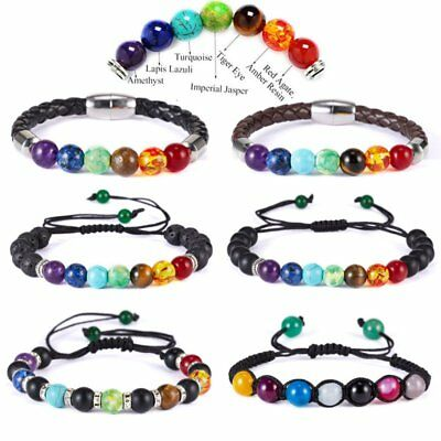 AU2.69 • Buy 7 Chakra Healing Natural Lava Stone Beaded Bracelet Diffuser Bangle Yoga Women