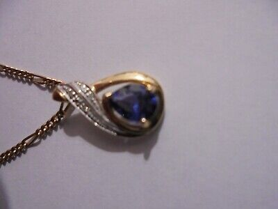 AU93 • Buy 9 Ct Gold Sapphire And Diamond Necklace On 45cm 9ct Gold Figaro Chain