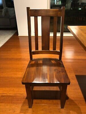 AU1000 • Buy Dark Brown Solid Timber Dining Chairs X 8 With Cushions