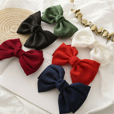 $ CDN4.67 • Buy Ponytail Clip Large Bow Hair Clips Vintage Linen Barrette Hair Accessories