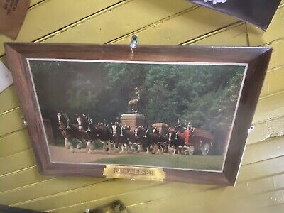 $ CDN151.15 • Buy RARE Vintage Framed Budweiser Clydesdale Photo Original Beer Sign, 31.5  X 19.5