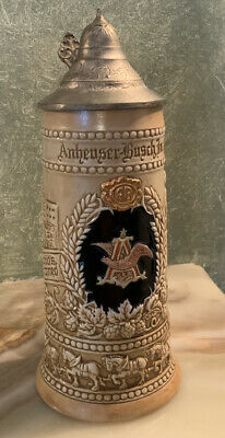 $ CDN18.14 • Buy Ceramarte Anheuser-Busch Lidded Beer Stein.  Made In Brazil.  9 & 3/4  Tall.