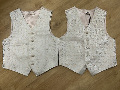 £10 • Buy BHS 2 X Boys Champagne Gold Christening Wedding Party Waistcoat & Tie Age 7-8