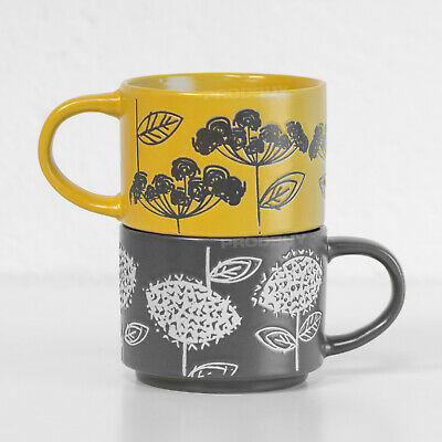 £12.99 • Buy 2 X 250ml Floral Leaf Stackable Mugs Cups Tea Coffee Hot Drinks Cappuccino Latte