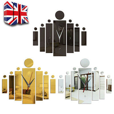 £6.39 • Buy 3D Number Mirror Art Clock Wall Sticker Big Watch Large Home Office Room Decor
