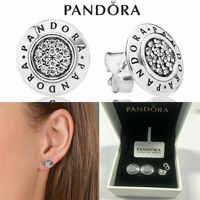 AU19.99 • Buy Authentic Pandora Silver Earrings Signature Studs #290559cz Hinged Box