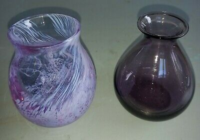 £8 • Buy 2 Vintage  Caithness Small Glass Vases- 1 Pink / Lilac And 1 Amythist