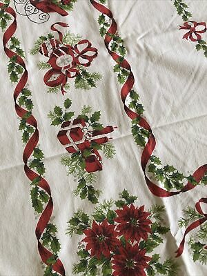 "$ CDN48.51 • Buy Vintage 1960's Christmas Tablecloth 64"" X 52"" White, Red, Green Bells Sleigh"