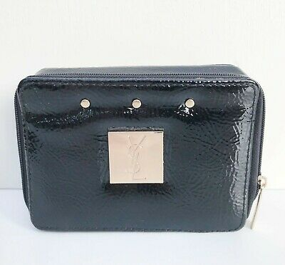 £20.38 • Buy YSL Beauty Black Faux Patent Leather Rivet Makeup Case Bag Box With Mirror, NEW