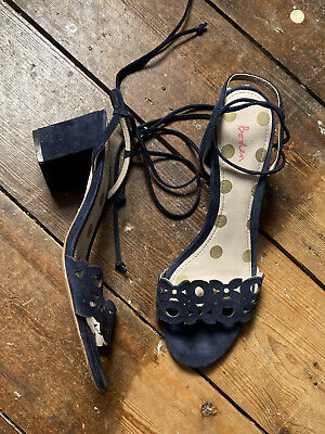£4.50 • Buy Boden Suede Strappy Sandals With Ankle Tie Size 6 39 Low Heel Navy Blue Pattern