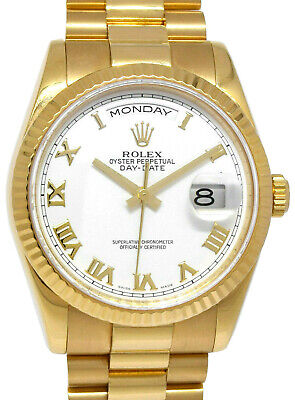 £17710.11 • Buy Rolex Day-Date President 18k Yellow Gold White Roman Dial Mens 36mm Watch 118238
