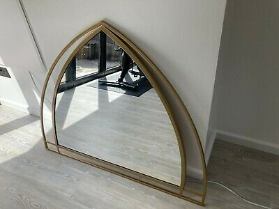 £55 • Buy Large Unusual Gothic Arch Mirror With Brass Effect Frame