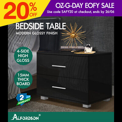 AU89.95 • Buy ALFORDSON Bedside Table Nightstand 4 Side High Gloss Black Side End Table