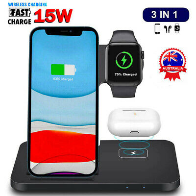 AU38.99 • Buy 15W Qi Wireless Charger Dock 3in1 Charging Stand For IWatch IPhone 12 11 Pro XS