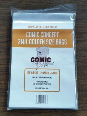 £7.99 • Buy 100 X GOLDEN AGE SIZE COMIC CONCEPT COMIC BOOK BAGS 2MIL