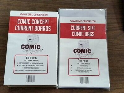 £18.99 • Buy 100 X CURRENT SIZE COMIC CONCEPT COMIC BOOK BACKING BOARDS AND BAGS