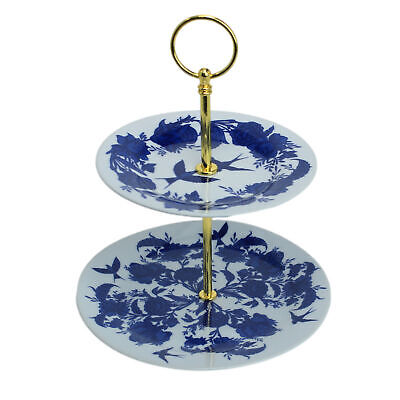 £10.95 • Buy Cake Stand 2 Tier Willow Porcelain Afternoon Tea Wedding Plate Party Tableware