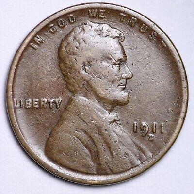 $ CDN1.20 • Buy VF 1911-D Lincoln Wheat Cent Penny FREE SHIPPING