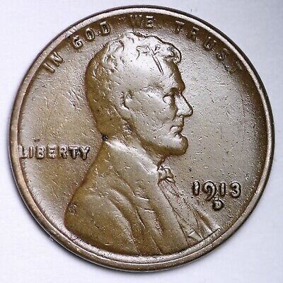 $ CDN1.20 • Buy VF 1913-D Lincoln Wheat Cent Penny FREE SHIPPING