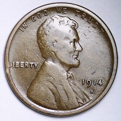 $ CDN1.20 • Buy VF 1914-S Lincoln Wheat Cent Penny FREE SHIPPING