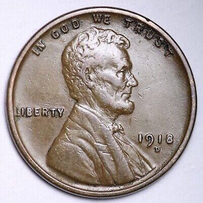 $ CDN1.20 • Buy XF+ 1918-D Lincoln Wheat Cent Penny FREE SHIPPING