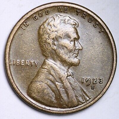 $ CDN1.20 • Buy VF+ 1923-S Lincoln Wheat Cent Penny FREE SHIPPING
