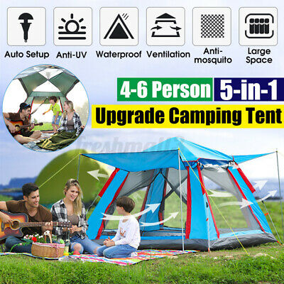 AU62.08 • Buy 6Person Auto Family Camping Coated Anti-UV Large Space Waterproof Outdoor Tent