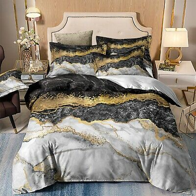 AU27 • Buy Doona Duvet Quilt Cover Set Queen King Size Charcoal/Gold Marble Bed Pillowcase
