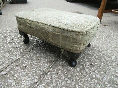 £29.99 • Buy Vintage  Green Floral Upholstered Low Gout Footstool Queen Anne Legs