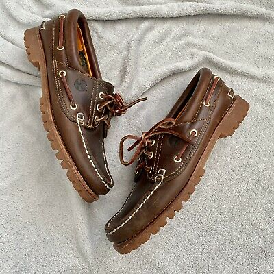 £49.90 • Buy Timberland 3 Eye Lug Boat Deck Shoes Brown Leather 🥾