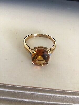 £180 • Buy MADEIRA CITRINE AND DIAMOND 9K GOLD RING SIZE N O 3.17 Cts Nwot .