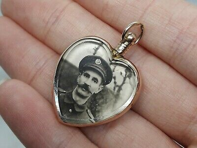 £199.99 • Buy Antique Edwardian 1904 Solid 9ct Gold Glass Double Photo Heart Locket Pendant