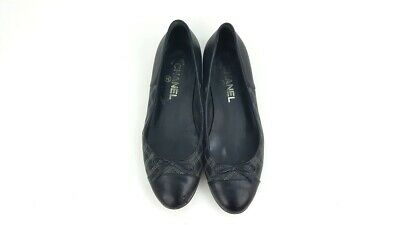 £99.11 • Buy Chanel Black Grey Quilted Leather Ballerina Ballet Flats Shoes Size 37