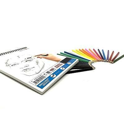 £9.99 • Buy A3 200gsm Sketch Pad Drawing White Artist Paper SPIRAL Book + Set Colour Pencils