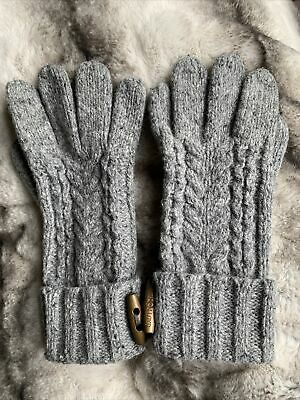 £10 • Buy Henri Lloyd Lambswool Grey Knitted Gloves Cable Arran Pattern Womens M Or Mens S