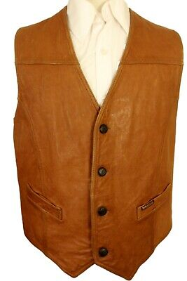 £19.99 • Buy Vintage Marlboro Classics Size 38 -40  Short Leather American Brown Waistcoat