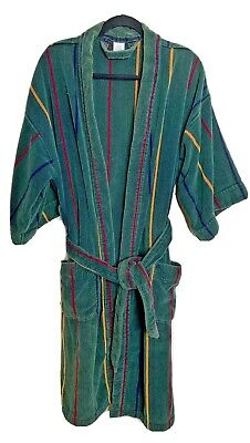 $46 • Buy Vintage Bath Robe Mens One Size Terry Cloth Thick Heavy Cotton Striped 80s 90s